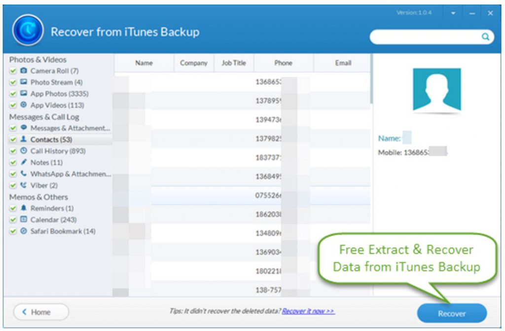 recuperare file backup itunes